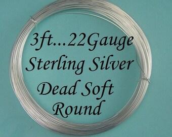 22 gauge g ga, 3 Ft Sterling Silver Dead Soft Wire