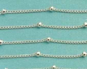 15 Ft Sterling Silver Satelitte Chain- (chain -1mm) (bead 2mm-)