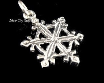 Sterling Silver Snowflake Charm- 24mm-  3-Dimensional