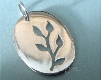 Sterling Silver Branch Oval Charm- Thai Silver Charms 20 x 15mm