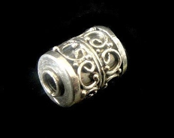 Sterling Silver Bali  Cylinder Bead-  10 x 7.3 mm 1 PC