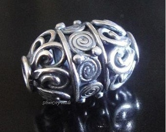 Bali Sterling Silver Filgree Cylinder Bead- 16.5x10 mm, hole 2mm