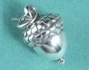 Sterling Silver Acorn Charm, 3D Thai Silver Charms, 11 x 7 x 7mm