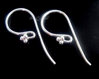 Sterling Silver Earwires, Bright 2 Pcs- Bali Silver Beaded Earwire 21x10mm
