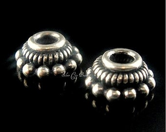 2 Bali Sterling Silver Bead Caps, Oxidized   7.5mm