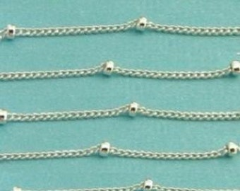 Sterling Silver 1mm Satellite Chain  5 ft  , 2mm Bead