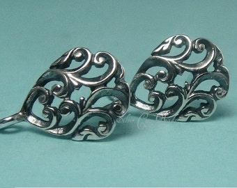 Silver Ear Posts, Sterling Silver Floral Teardrop Ear Post - 9 x 14 x 2, Thai Collection SALE