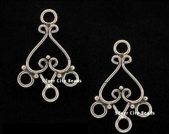 Bali Silver Heart Chandelier earring 21x13x1mm 1 pair