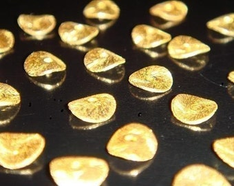 Vermeil Wavy Beads, 20 Pcs- 6mm 24k Vermeil Brushed Wavy Discs