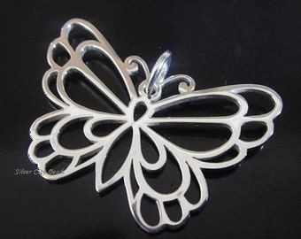 Sterling Silver Large Butterfly Pendant Thai Silver Charms SALE 25 x 35mm