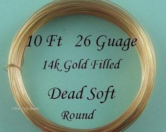 26 g gauge ga, 10 Ft, 14k Gold Filled Round Wire, Dead Soft