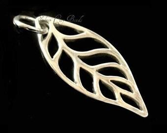 Sterling Silver Leaf Charm Thai Bali Open Work Leaf  Charm 24 x 8 x 1mm