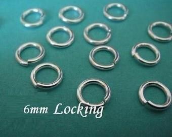 25 pcs BULK, 18 gauge ga g, 6mm Sterling Silver LOCKING Jump Rings, aka jump locks, 925 sterling silver