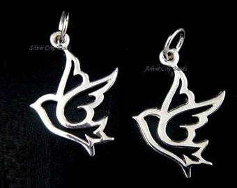 2 Silver Dove Charms,  SALE 925 Sterling Silver Open Work Dove Charms-  18.8 x 13.5