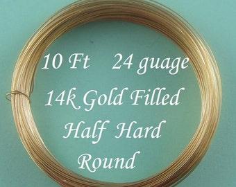 24 g gauge ga, 14k Gold Filled Round Wire,  Half Hard- 10 ft