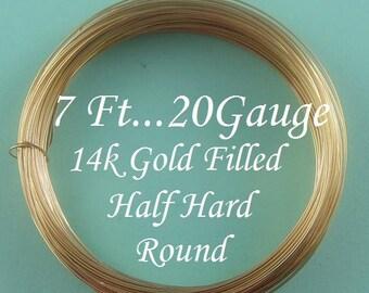 20g gauge ga 14k Gold Filled Round Wire,  Half Hard 7 Ft-