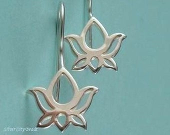 Sterling Silver Earwires, 1 Pr Sterling Silver Open Work Lotus Earwires- 22.2 x 11.5, Thai Collection