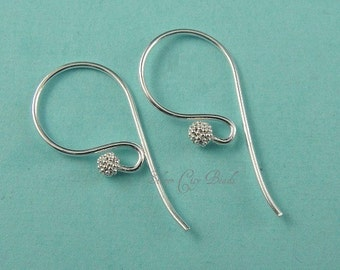 Sterling Silver Earwires Ear wire, Bali Sterling Silver Beaded Earwire-  11.5 x 25 x 0.7mm, 1 pair