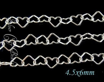 2 Ft  Sterling Silver Heart Chain- 6x4.5mm