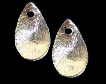 2 pcs- Bali Sterling Silver Brushed Teardrop Wavy Beads -13x8mm