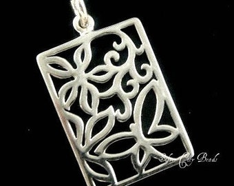 Sterling Silver Open Work Butterfly and Flower Pendant- 27.7 x 14.7mm