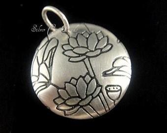 Sterling Silver Lotus Charm, SALE- Medium Domed Round Pure Lotus Print Charm- 18mm