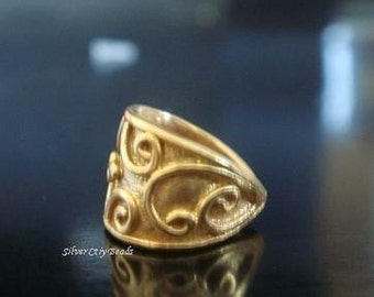 Bail Vermeil Bail, 24kt Gold over 925 Sterling Silver, Vine Motif,  10.5x7.4 mm
