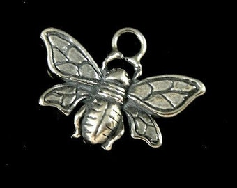 Honey Bee, Sterling Silver Charm, Bali Bumble Bee Charm- 8.7x18.8 mm