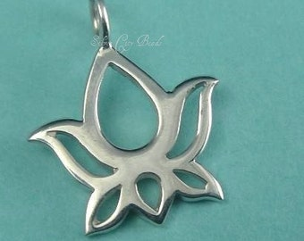 Sterling Silver Lotus Charm Blossom Dangle 92.5 Thai Silver Charms - 15 x 12mm,