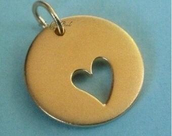 24k Vermeil Heart Cut Out Round Disk SALE Thai  16 x 13 mm