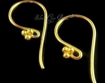 Bali Vermeil Ear wires - 2 Pair - 24k Vermeil Sterling Silver Beaded Ear wire - 21.5 5x10, 4 pcs