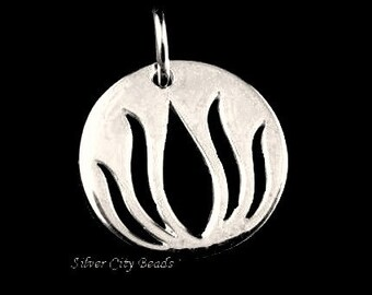Silver Lotus Charm, 1 SALE  Thai Sterling Silver Open Work Lotus Tag, 12x12x1.1mm