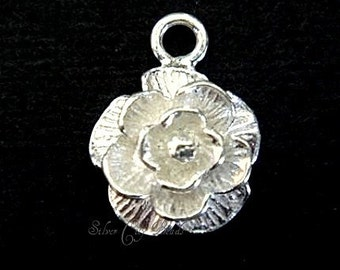 Bali Silver Rose Charm,  Bali Sterling Silver Bright Rose Charm - 10 mm