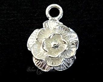 1  Bali Sterling Silver Bright Rose Charm - 10 mm