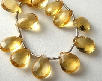 Citrine Pear Briolette, Faceted Gemstone, 2 MATCHED PAIRS, (4pcs) Wholesale Beads, Brides, 8x6-9x7mm,