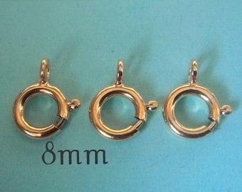 8mm 14k Gold Filled Spring Ring Clasp, 5 pcs, GC148