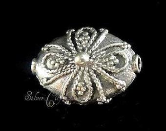 Sterling Silver Filigree Oval Bead, Bali Handmade Flower Bead - 13x9.2x7mm
