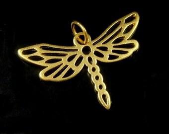 24k Vermeil Dragonfly Charm- 16x25mm