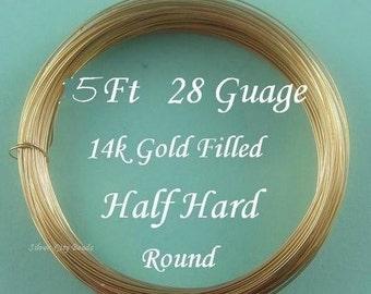 28 g gauge ga, 5 Ft- 14K Gold Filled Round Wire-Half Hard