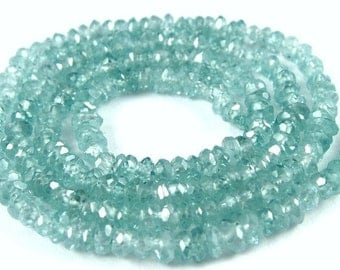 Genuine Zircon Rondelles, Natural Sparkly Blue Zircon Faceted Beads, 2 inch-AA 4mm-, Blue Diamond substitute