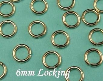 20 pcs, 18 gauge ga g, 6mm 14k Gold Filled Jump Rings, aka jump locks, secure