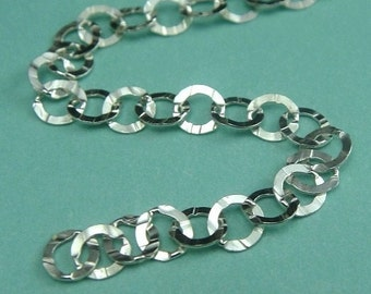 3 Ft Sterling Silver Textured Flat Circle Chain- 3.5 x 4 mm