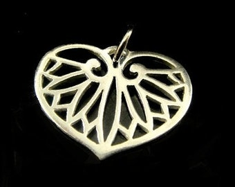 Sterling Silver Egyptian Leaf Charm, 925 Silver Heart and Leaf Charm-18x14mm