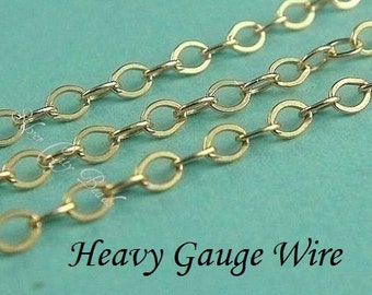 SALE..14k Gold Filled Flat Cable Chain, 10 Ft, HEAVY Guage Wire, UPGRADE- 2.2x1.7mm