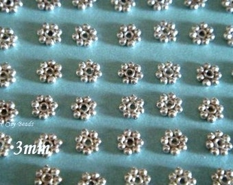 Silver Daisy Spacer  Bali 3mm Sterling Silver Bright Daisy Spacers, 20 pcs