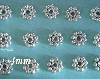 Silver Daisy Spacer Bali Sterling Silver Bright Daisy Spacers, 20 pcs, 4mm