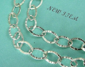 New Sterling Silver Textured Oval Cable Chain, 5 ft 925 Flat Hammered, 8x5.5mm