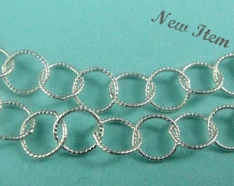 Sterling Silver Twisted Cable Chain, 5 Ft Round Twisted Link 3.5mm