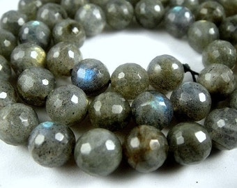 Labradorite Round  Beads,  Faceted Round Firey Blue Flash, 6mm, ,1/2 strand
