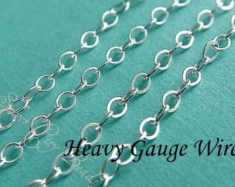 Shop Sale -Sterling Silver Flat Cable Chain -30 feet  -WHOLESALE - UPGRADE- - 2.2x1.7mm